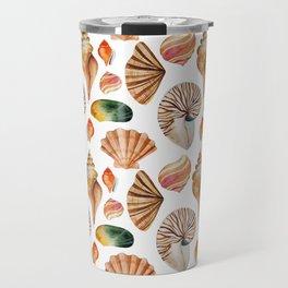 Coral pink orange watercolor nautical seashells Travel Mug