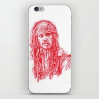 jack sparrow iPhone & iPod Skins featuring Captain Jack Sparrow by Cassie's Wonderland