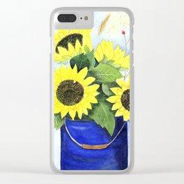 Watercolor sunflower bouquet in bucket Clear iPhone Case
