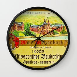Vintage 1866 Wine Bottle Label Klusserather Bruderschaft Wall Clock