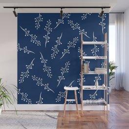 Botanical pattern Indigo colour pallet Wall Mural