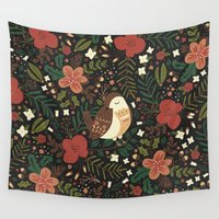 robin Wall Tapestries featuring Christmas Robin by Anna Deegan