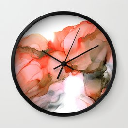 Valencian Kiss - abstract kiss, orange, gray, white, modern, fluid paint, ink, marble Wall Clock