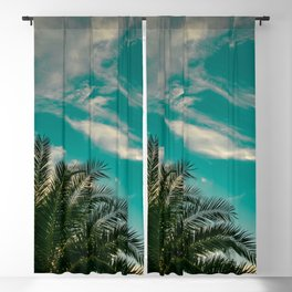 Palms on Turquoise - II Blackout Curtain