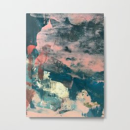Lighthouse: a bold, mixed-media abstract piece in blues, pink, and gold Metal Print