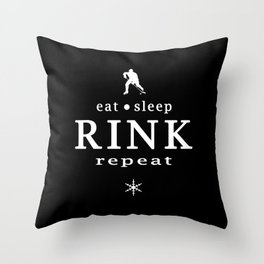 eat sleep RINK repeat Throw Pillow