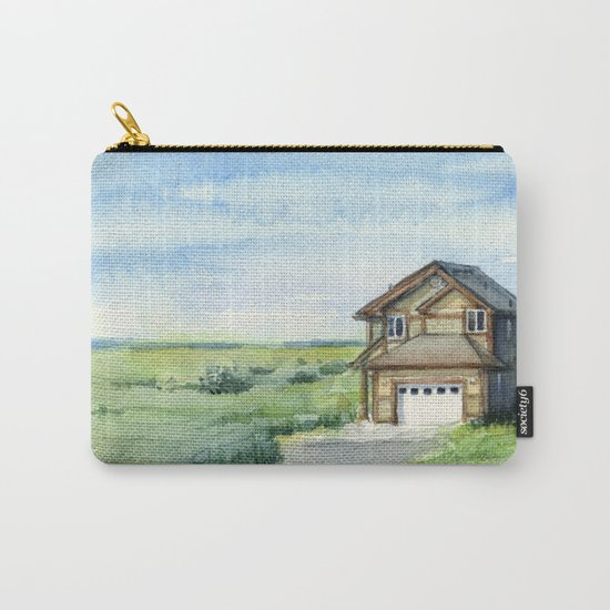 Beach House Landscape Watercolor | Long Beach, WA Carry-All Pouch