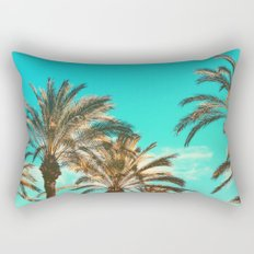 Tropical Palm Trees  - Vintage Turquoise Sky Rectangular Pillow