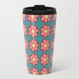 Retro Doodle Mini Flower - Blue and Green Travel Mug