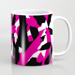Vibrant Pink Black Brushstroke Pattern Coffee Mug