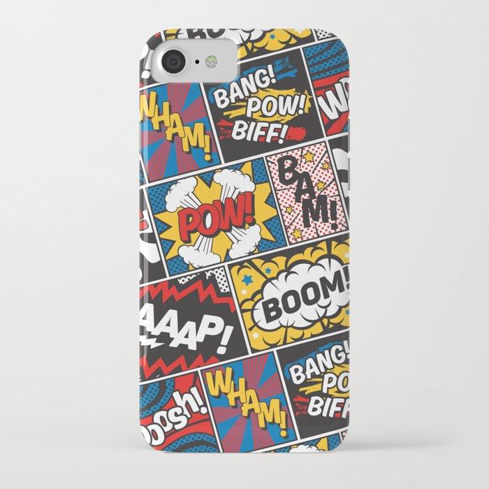 Modern Comic Book Superhero Pattern Color Colour Cartoon Lichtenstein Pop Art iPhone Case
