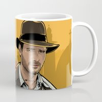 indiana jones Mugs featuring Indiana by Akyanyme