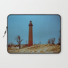 Little Sable Point Lighthouse Winter Desolate Dunes Blue Otherworldly Sky Laptop Sleeve