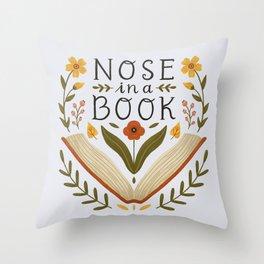 Nose in a Book Throw Pillow