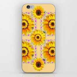 CREAM COLOR WESTERN STYLE YELLOW SUNFLOWERS iPhone Skin