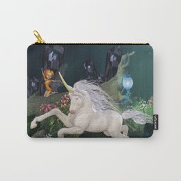 Cute little fairy with wonderful unicorn  Carry-All Pouch