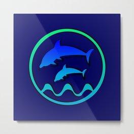Dolphin Jumping Hoop Metal Print