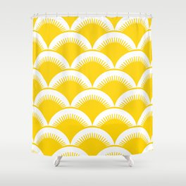 Japanese Fan Pattern Yellow Shower Curtain