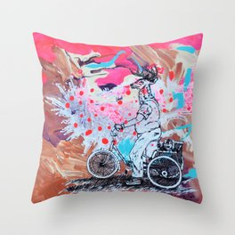 Buck on Bike with Puppy Throw Pillow
