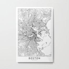 Boston White Map Metal Print