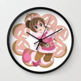 Donuts - Pink Frosted Pon De Ring Wall Clock