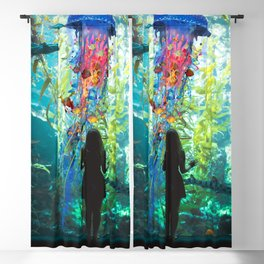 Electric Jellyfish World in an Aquarium Blackout Curtain