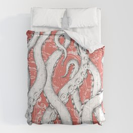 White Octopus Tentacles Coral Ink Vintage Map Art Comforters