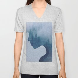 double exposure Unisex V-Neck