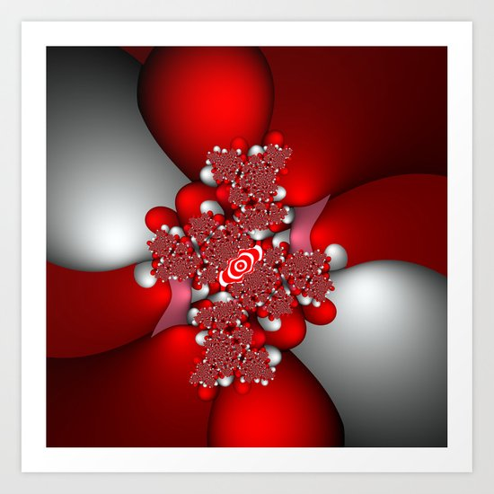 Red, silver and pink fractal Art Print