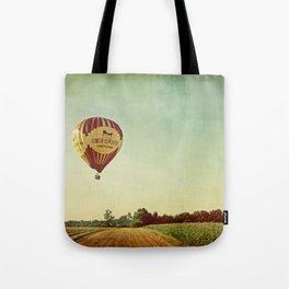 Hot Air Balloon Over Farmland Tote Bag