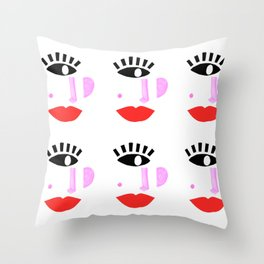 Modern Face, Colorful Mouth  Throw Pillow