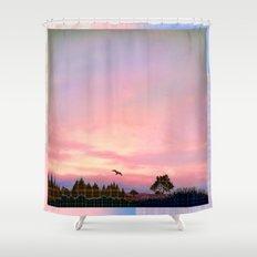 Rose Quartz and Serenity Landscape Shower Curtain