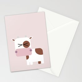 Little pink cow illustration Stationery Cards