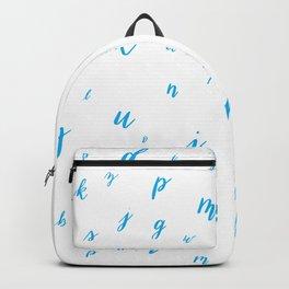 Brush Lettering Hand Lettered Alphabet Pattern Blue Backpack
