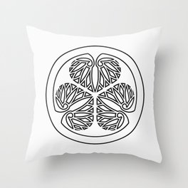 Tokugawa Clan · Black Mon · Outlined Throw Pillow