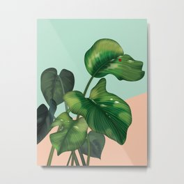 Monstera on mint and pink Metal Print