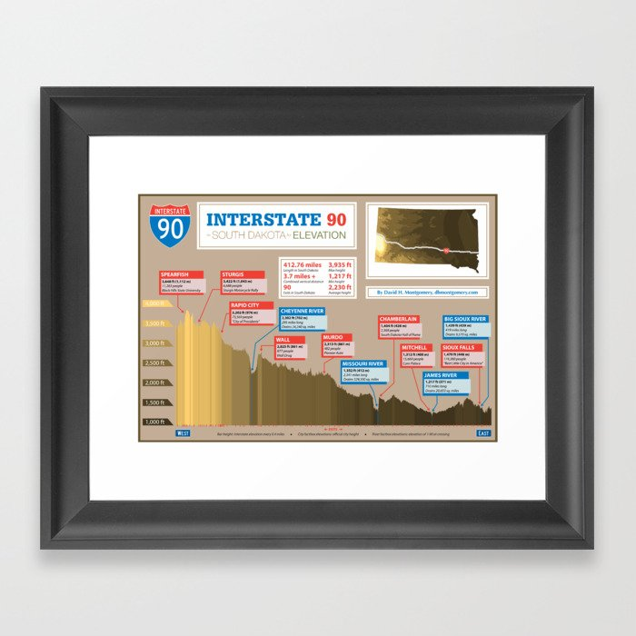 Interstate 90 in South Dakota by Elevation Framed Art Print