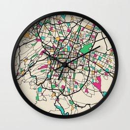 Colorful City Maps: Mexico City Wall Clock