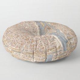 Vintage Map of Paris (1550) Floor Pillow