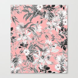 Black and White Floral on Light Pink Canvas Print