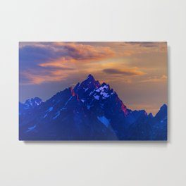 Sunset Over The Grand Teton. Metal Print