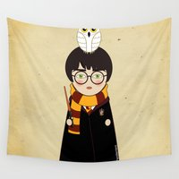 harry Wall Tapestries featuring Kokeshi Harry  by Pendientera