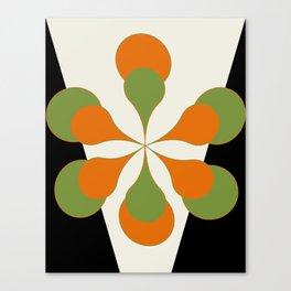 Mid-Century Modern Art 1.4 - Green & Orange Flower Canvas Print