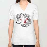 henna V-neck T-shirts featuring Henna Wolf by Ben Coffman