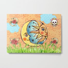 Sun God & Moon #2: Watercolor Metal Print