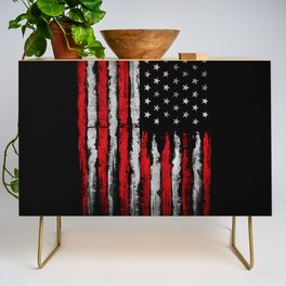 Red & white Grunge American flag Credenza