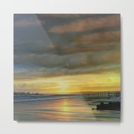 Captivating Sunset Over The Harbor Metal Print
