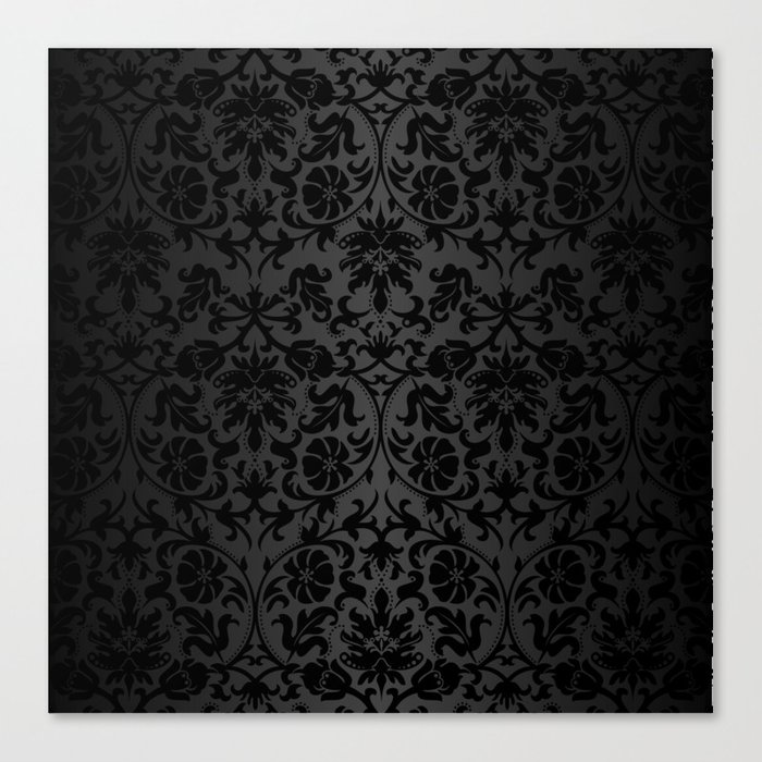 Black Damask Pattern Design Leinwanddruck