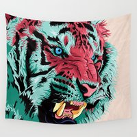 tiger Wall Tapestries featuring Tiger by Roland Banrevi