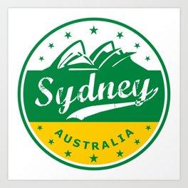 Sydney City, Australia, circle, green yellow Art Print